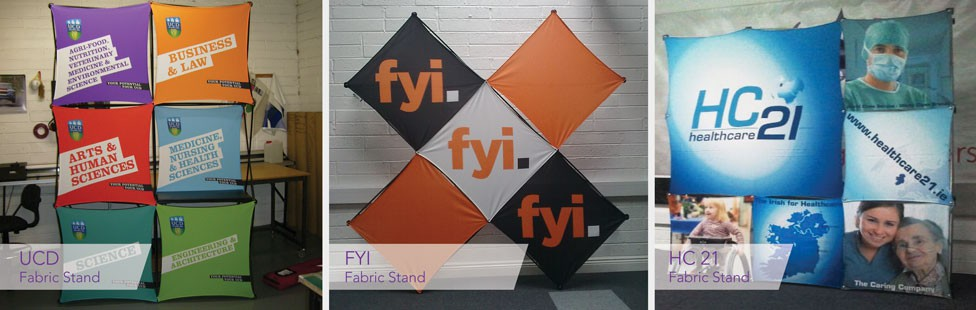 printed fabric display stands