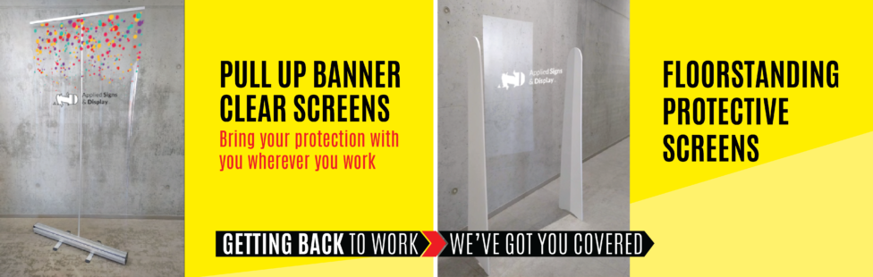 covid 19 portable protective screens with logos ireland